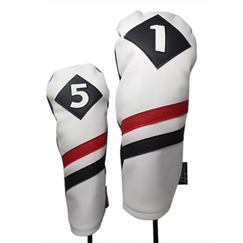 Amazon.com: majek Retro palos de golf, blanco, rojo y negro ...