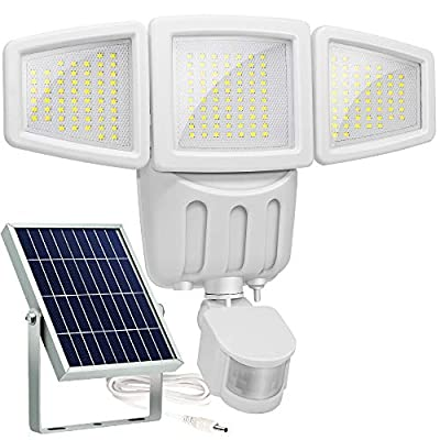 Solar Lights Outdoor, Lovin Product Ultra Bright 182 LED 1000 Lumens Motion Sensor Lights; Wide Angle Illumination/ 3 Control Dials Mode, Security Solar Wall Lights for Driveway, Deck - White