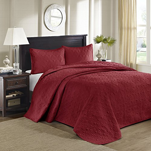 Madison Park Quebec 3 Piece Bedspread Set Red King