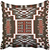 Emvency Decorative Throw Pillow Cover Square Size 20x20 Inches Native American Indian Navajo Pillowcase With Hidden Zipper Decor Cushion Gift For Holiday Sofa Bed