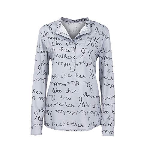 à Plus Blouse Beikoard Blouse Size Manches Tee Lettre Pull Femmes et Button Longues Tops Shirt Gris Chemisier Haut Foncé Chemisier Neck V OIzXrnxXw
