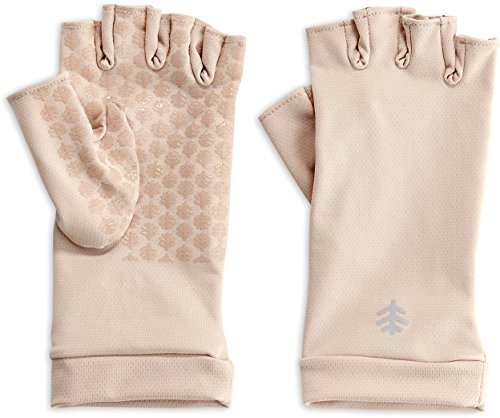 Coolibar UPF 50+ Men's Women's Ouray UV Fingerless Sun Gloves - Sun Protective (Medium- Beige)