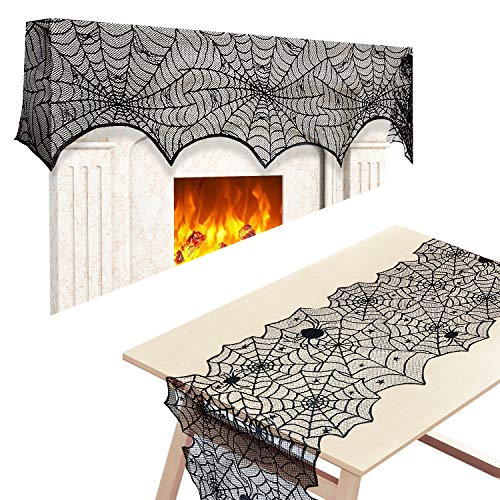 2pack Black Lace Spiderweb Fireplace Mantle Scarf Cover With Lace Cobweb Tablecloth Runner For Halloween Decoration Halloween Parties Décor & Spooky Scary Parties 18