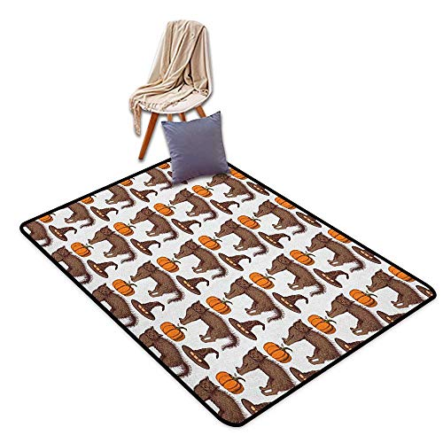 Girl Room Children's Room Kindergarten Decoration Rug Halloween Seasonal Vintage Pattern with Pumpkin Squash Witch Hats and Cat Figures Girl Room Children's Room Kindergarten Decoration Rug W6'xL7' -