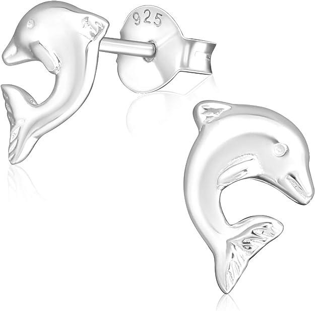 2x Ohrringe 925er echt Silber Delfin Herz Ohrstecker für Kinder Mädchen Kristall