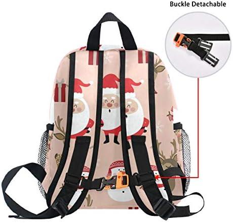 クリスマス鹿エルクサンタクロース幼児バックパックブックバッグミニショルダーバッグ1-6年旅行男の子女の子子供用チェストストラップホイッスル