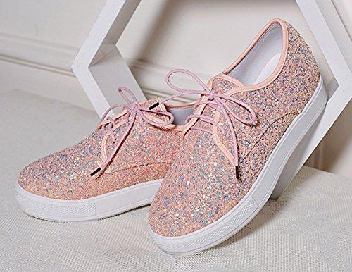 Low Top Shoes Sequin Jiu Causal Women's Flats du Platform Toe Round up Lace Work Simple Pink wxvqAPf