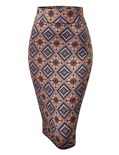 Made By Johnny WB1304 Womens Print Midi Pencil Skirt XXXL Orange_Blue