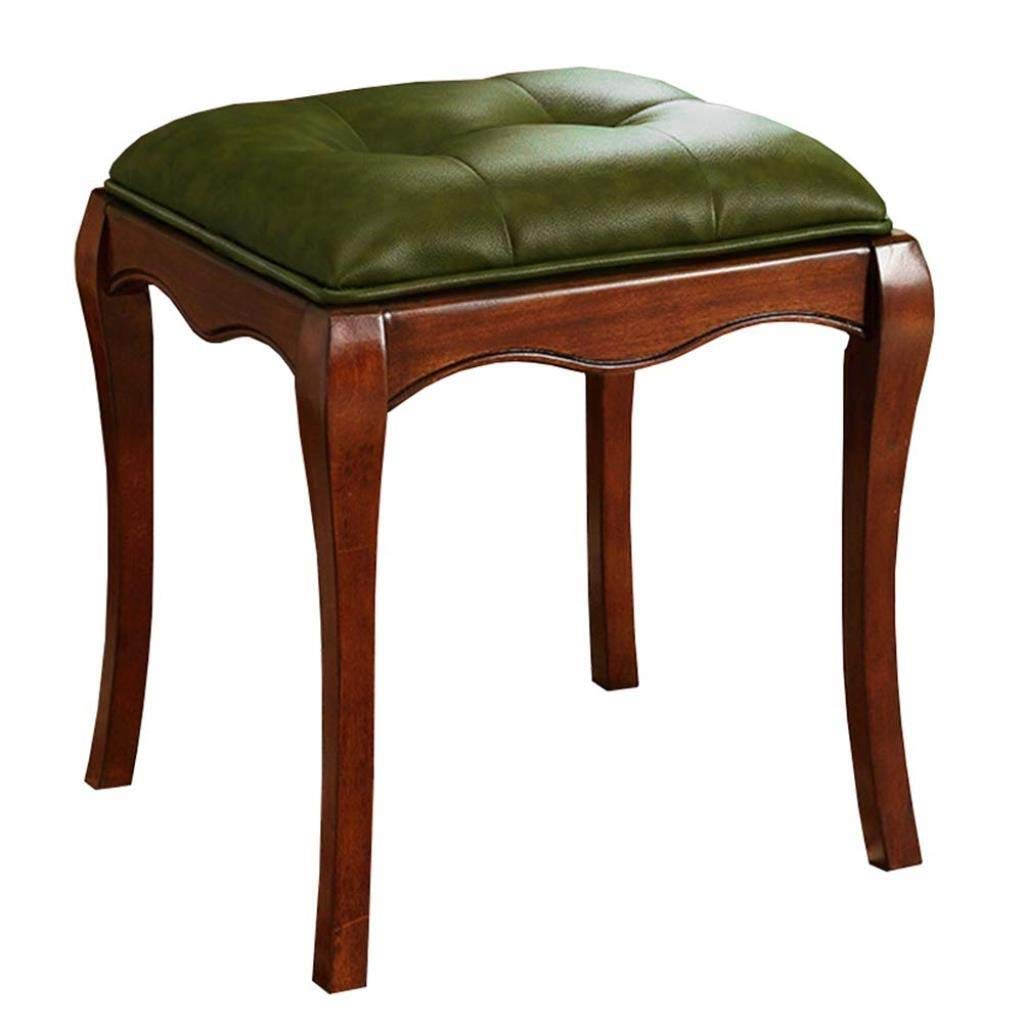 DNSJB European Retro Dressing Table Stool Solid Wood Shoes Bench Home Footstool Luxury Quality Multifunction Household Creative (Color : Green, Size : 423846cm) by DNSJB