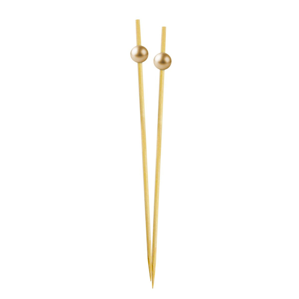 Simply Baked Large Appetizer & Cocktail Pick Metallic Gold Ball on Natural Wood Pick 30-Pack Disposable and Sturdy