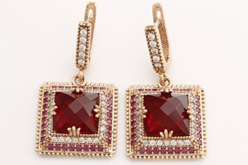 Turkish Handmade Jewelry Square Shape Ruby and Round Cut Topaz 925 Sterling Silver Dangle/Drop Earrings
