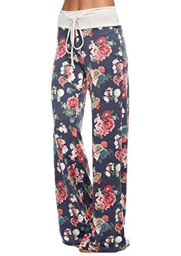 [Women's Casual Comfy Chic Floral Long Wide Leg Pants (Rose,US6)] (Flat Front Wide Leg Pants)