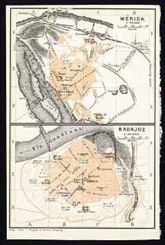ThePrintsCollector de mapamundi antiguo-España-Plan de Mérida-Badajoz-Karl baedeker-1913: Amazon.es: Hogar
