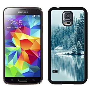 NEW Unique Custom Designed Samsung Galaxy S5 I9600 G900a G900v G900p G900t G900w Phone Case With Pine Forest Lake Snow_Black Phone Case