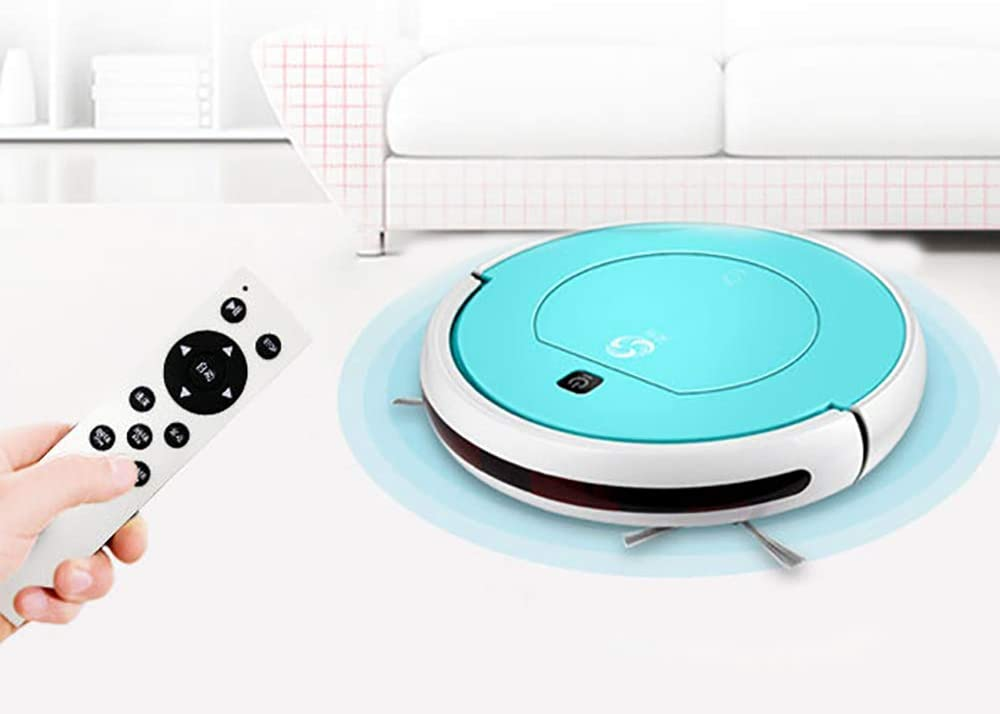 Aspirateur Robot, Robot à Sec Humide Balayer, avec télécommande, autovacuum Pet Cheveux, Tapis Moyen Pile et planchers de Bois Franc hsvbkwm (Color : Purple) Blue