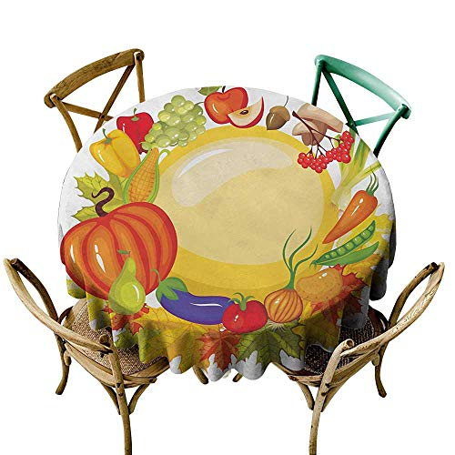 (polyester round tablecloth 54 inch Harvest,Garden Products from Whole Year Mushroom Bell Peppers Carrot Leek Healthy Life,Multicolor Printed Indoor Outdoor Camping Picnic Circle Table Cloth)