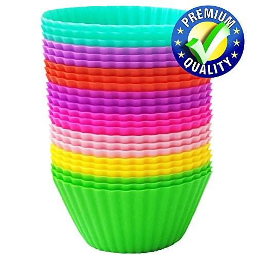 Silicone Baking Cups – Premium Quality – Non-Stick – Best 24 Cupcake Liners – Special Gift Packaging – Bonus Ebook – Enjoy