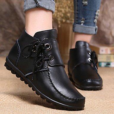 RTRY Zapatos De Mujer Cuero Nappa Moda Otoño Invierno La Nieve Botas Botas Botas Bota De Tacón Plano Botines/Botines Lace-Up Para Casual US6.5-7 / EU37 / UK4.5-5 / CN37