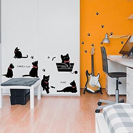 Vinilo decorativo Pegatina de pared Adhesiva Gatos Infantil habitaciones Infantiles, zonas de juegos.Vinilo