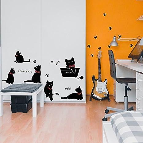Vinilo Decorativo Pegatina de Pared Adhesiva Gatos Infantil Habitaciones Infantiles, Zonas de Juegos.Vinilo Original y Divertido para Niños