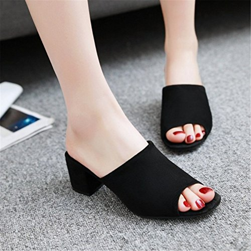 Square Platform Heels Mules Toe Peep Med Shoes Woman Party Slip Turner Women Yellow Ronald On Pumps v8qPYq