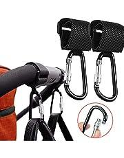 Buggy & barnvagnsklämmor, bekväma barnvagnskrokar. Kroka dina babyartiklar, shopping och väskor säkert på din barnvagn eller barnvagn. Kläm din handväska eller babyväska till din barnvagn, 2-pack