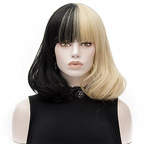 ATAYOU® 2 Tonos Corto Recto Negro Rubio Sintético Cosplay Bob Pelucas Para Mujer Vestido De