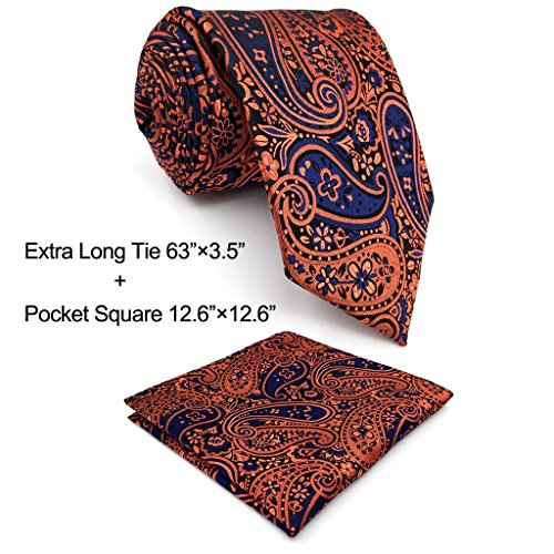 Shlax & Wing Extra Long Size Necktie Paisley Blue Navy Orange Men Tie Jacquard (Orange Paisley Tie)
