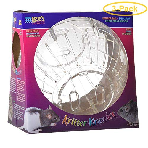 Kritter Krawler Pet Exercise Ball [Set of 3] Size: Jumbo (10'' W), Color: Assorted by Lees Aquarium & Pet
