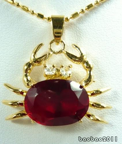 Red Cubic Zirconia 18KGP Crystal Crab Pendant & Necklace ..- from Hibiscus Express