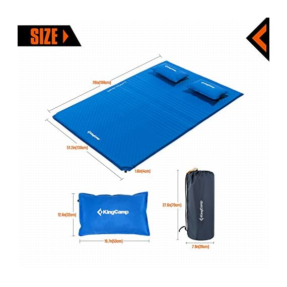"KingCamp Double Self Inflating Camping Sleeping Pad Triple Zone with 2 Pillows 4 Full inflating size 78"" x 51.2"" x 1.6""; TRIPLE ZONE design make this pad more comfortable; 100% Micro Brushed 75D Polyester, damp-proof, eco-friendly and durable. Two self inflating PILLOWS to add more comfort Two durable non-corrosive brass valves provide rapid inflation and deflation. It is convenient to adjust the comfort level of this self-inflating camp pad Comes with two compression straps, an oversized oxford carrying bag and repair kit (Glue Not Included); Essential for camping, hiking, home living and any other outdoor activities"