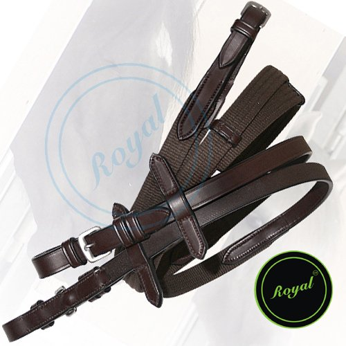 Royal Seven Loops Hand Stopper Web Reins./Vegetable Tanned Leather./Stainless Steel Buckles. (Leather Steel Reins)