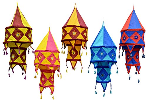 5pcs-25pcs Indian Traditional Hanging Lamps shades Patchwork Mirror Work Home Decor 2 Layer by Amazing India