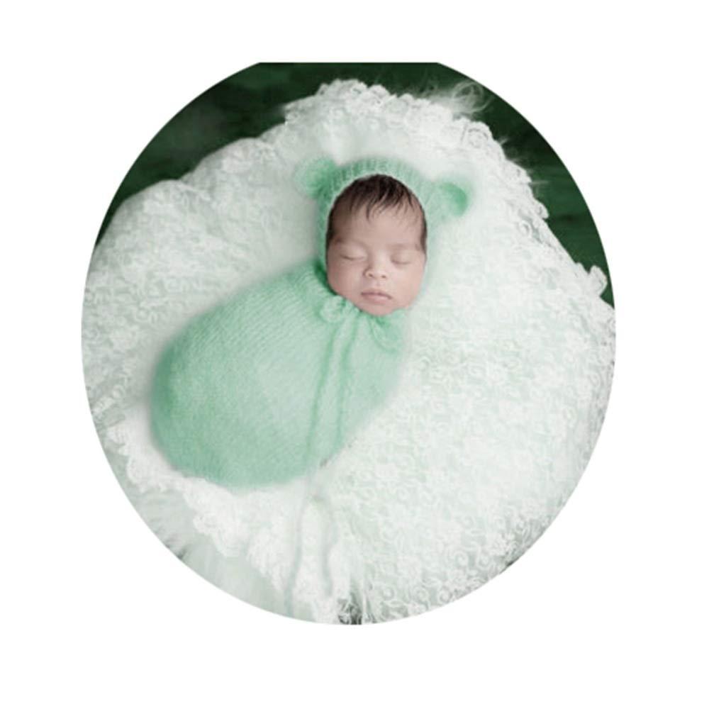Xiejuanjuan Newborn Baby Photo Props Outfits Photography Props Hat +Sleeping Bag Newborn Boy Girl Baby Costume (Color : Light Green, Size : S) by Xiejuanjuan