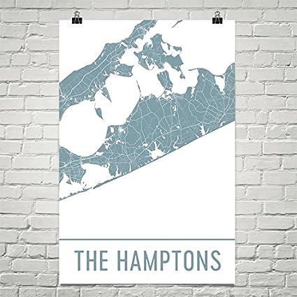 Hamptons New York Map.Amazon Com The Hamptons Poster The Hamptons Art Print The