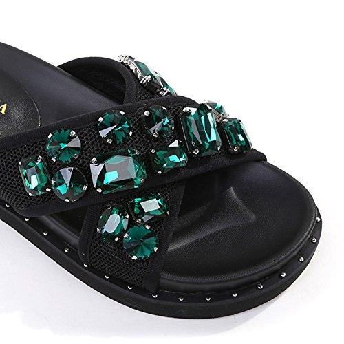 Women's Sandals Woman Style3 Shoes Wear Flat Slippers ZCJB Flat Toe Summer Heel Outer Clip rZxqrzHw