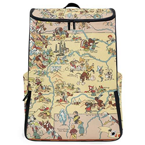 Backpack Shoulder Travel School Bag Montana State Map Cartoon Pattern Daypack -