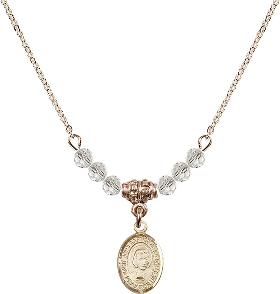 18-Inch Hamilton Gold Plated Necklace with 4mm Crystal Birthstone Beads and Gold Filled Saint John Baptist de la Salle Charm.