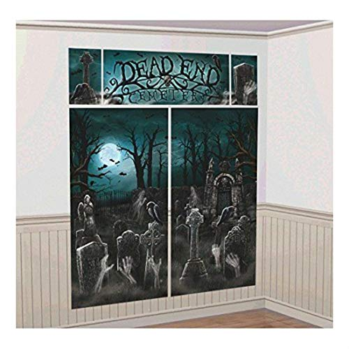 (CEMETERY SCENE SETTER Backdrop Party Wall Decoration Halloween Haunted Graveyard- Sold by Soigne and)