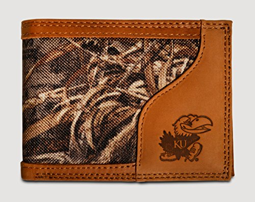 Kansas Jayhawks Bifold Realtree Max-5 Camo & Leather Wallet - Zep-Pro - NCAA -