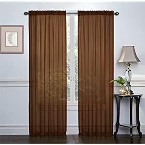 2 Pack: Ultra Luxurious High Thread Rod Pocket Sheer Voile Window Curtains by GoodGram - Assorted Colors (Chocolate)