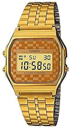 ff67d2fc3 Image Unavailable. Image not available for. Color: Casio #A159WGEA-9A Men's  Vintage Gold Tone Chrongoraph Alarm LCD Digital Watch