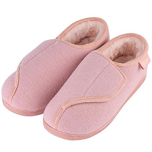 LongBay Women's Furry Memory Foam Diabetic Slippers Comfy Cozy Arthritis Edema House Shoes (9 B(M) US, Pink)