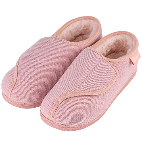 LongBay Women's Furry Memory Foam Diabetic Slippers Comfy Cozy Arthritis Edema House Shoes (11 B(M) US, Pink)