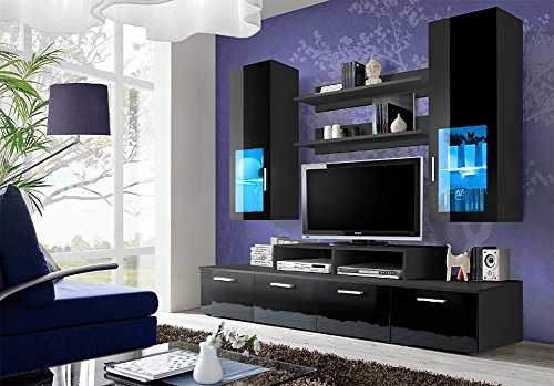 TOLEDO Entertainment Center with multicolor LED system and remote control / Modern Design Wall Unit for contemporary homes (Black) (Entertainment Units Wall Centers)