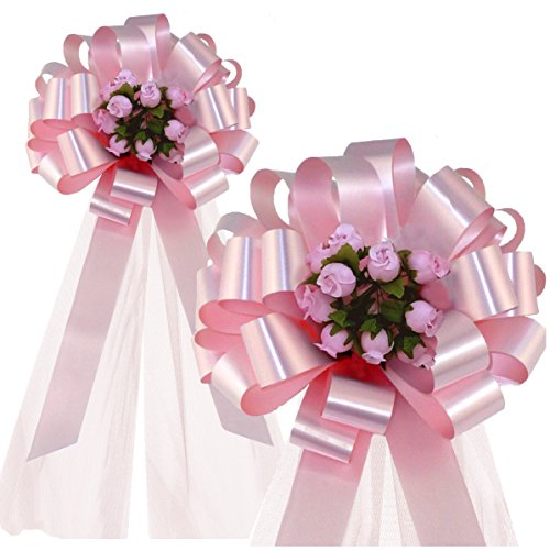 Petal Pull (Rose Petal Pink Wedding Pull Bows with Tulle Tails and Rosebuds - 8