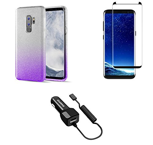 Samsung Galaxy S9+ Plus - Bundle: Sparkling Glitter Waterfall Fusion Slim Perfect Fit Protective TPU Case, Glass Screen Protector, 2.1A (2100 mAh Output) Type-C Car Charger (Extra Port), Atom Cloth - Raised Lens Indicator Light