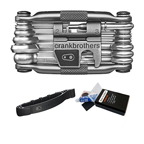 Crank Brothers Multi Bicycle Tool (19-Function) + Crank Brothers Tire Speedier Lever + Bike A Mile Patch Kit (Bicycle Cassette Road Titanium)
