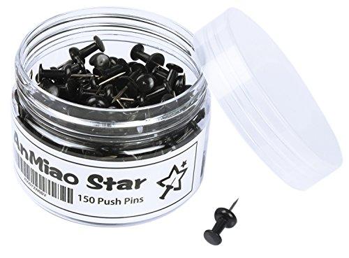 AnMiao Star Push Pins/Thumb Tacks - 150 Colorful Pushpins Per Container (Black)