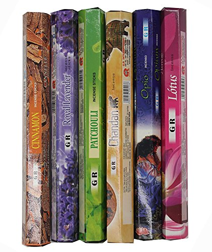 Dharmaobjects Cinnamon, Opium, Lavender, Patchouli, Chandan, Lotus Best Sellers Variety Pack of 6 Box 120 Incense Sticks - Exotic Incense Sticks Pack